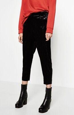 Zara Black Velvet High Waist Carrot Pants Size S Perfrct Condition