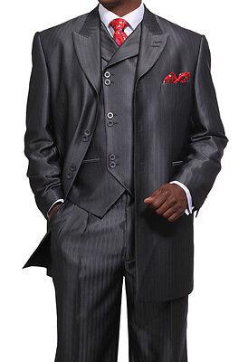 Men's 3 Piece Luxurious Suits Wool Feel Herring Bone Stripe Grey Black 38R~56L