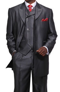 Mens-3-Piece-Luxurious-Suits-Wool-Feel-Herring-Bone-Stripe-Grey-Black-38R-56L