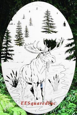 Moose Static Cling Window Decal OVAL 10x16 Country Decor for Glass Doors Sliding