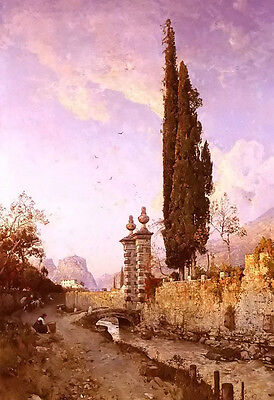 Oil Painting Robert Russ   Landscape In Northern Italy Free Shipping For All