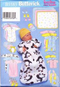BUTTERICK SEWING PATTERN 5583 BABY L-XL SLEEPING BAG, TOP, JUMPSUIT, NAPPY COVER