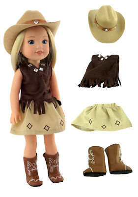 14.5 INCH DOLL: Brown Little CowgirlOutfit  by American Fashion World New