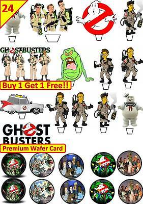 Ghostbusters Cupcake Toppers (48 GHOSTBUSTERS Cup Cake Fairy Edible Wafer Rice Toppers STAND UP)