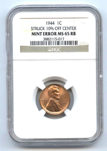 1944 Lincoln Cent (1c) Srtuck 10% Off Center-ngc Ms65rb-mint Error-