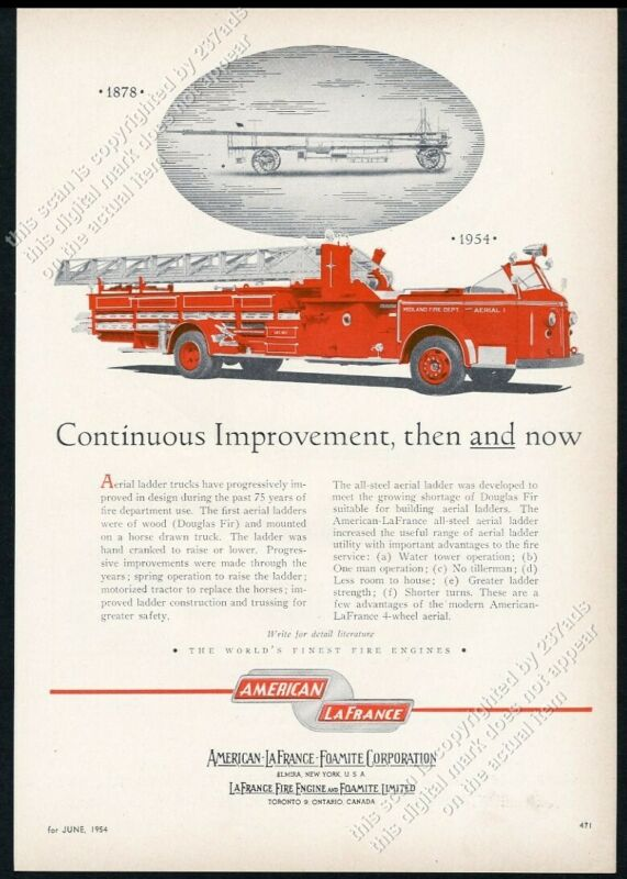 1954 American-LaFrance fire truck Midland Fire Department photo vintage print ad