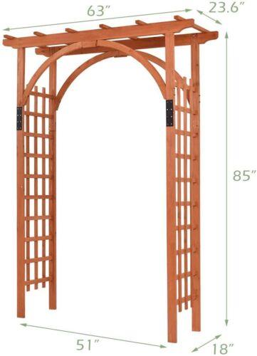 """GYMAX Wood Arbor Arch, 85"""" Garden Archway Arch Lattice Trellis Pergola for Backy"""