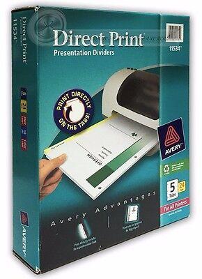Avery Direct Print Laser Printer Dividers 5-Tab 24 Sets (11534) ()