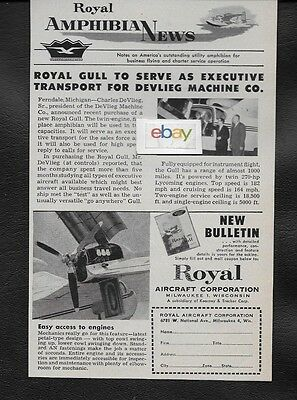 Royal Aircraft Corp Royal Gull Seaplane 1956 Amphibian News Ad