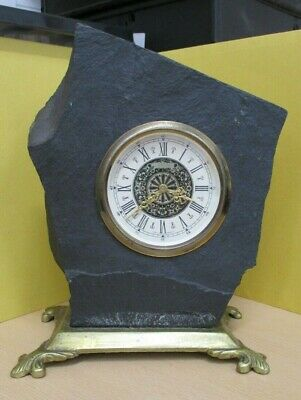 Vintage Black Slate & Brass Mantel Clock. Working, but needs servicing (3 kilos)