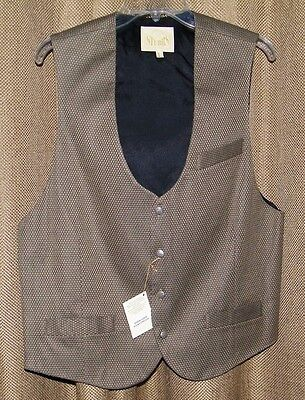 Stubbs Western Wear Cowboy Gold Basket Weave Vest With Metal Buttons NWT Sz L Gold Mens Vest