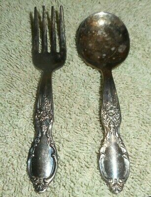 Vintage Silverplate Silverware 4 pc Place Setting  Antique Ornate Sterling Silver Plate  Victorian Dining Heirloom Piece  Estate Flatware