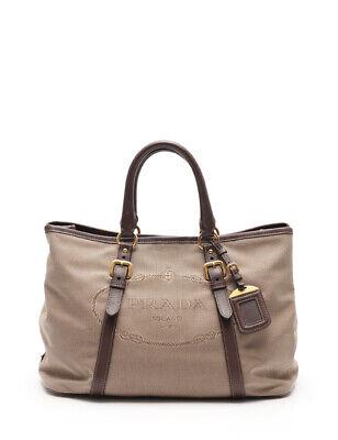 PRADA LOGO JACQUARD logo jacquard handbag canvas leather beige brown 2WAY
