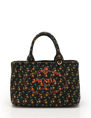 PRADA CANAPA mini tote bag canvas black green orange 2WAY