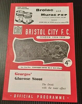 Bristol City v Scunthorpe United Programme 22/11/58
