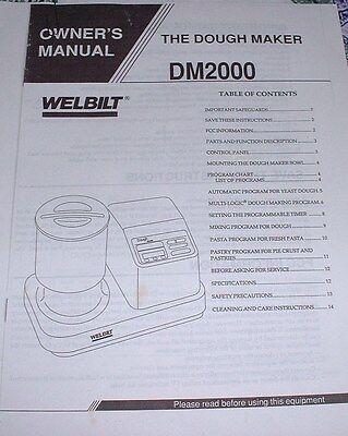 Welbilt Dough Maker Owner's Manual