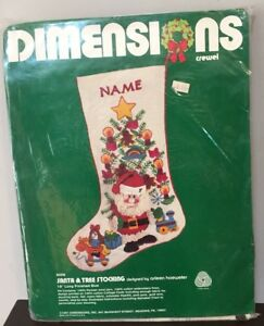 Dimensions SANTA & TREE Crewel Christmas Stocking Kit - RARE - 8006 - A Hoeweler