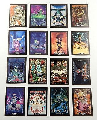 1991 Brockum RockCards Sticker Insert Set (16) Nm/Mt ^ Iron Maiden Slayer