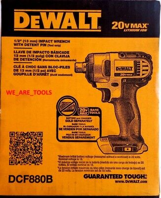 NEW IN BOX Dewalt DCF880B 20V Cordless Battery 1/2