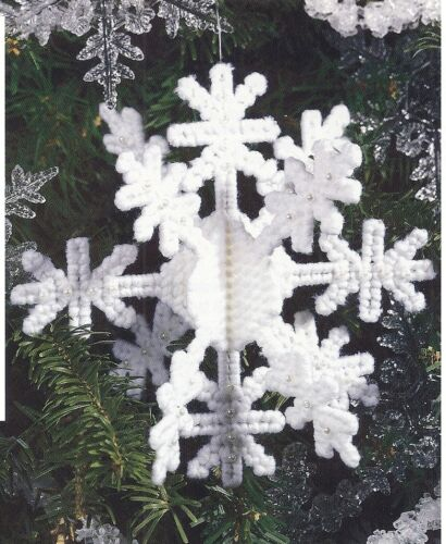 **BEADED SNOWFLAKE ORNAMENT TO STITCH- PATTERN ONLY**PLASTIC CANVAS PATTERN**