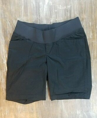 Womens Old Navy Maternity Shorts Solid Black Casual Dress Bottoms w/ Band Sz 2