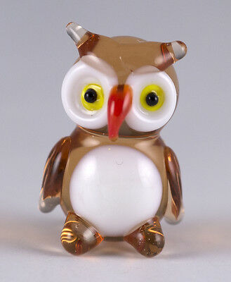 Miniature Hand Blown Art Glass Owl Figurine 3/4