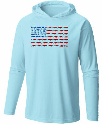 Long Sleeve Microfiber UPF Lure Flag Hooded Fishing Shirt - Arctic Blue