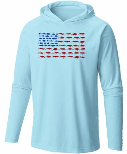 Long Sleeve Microfiber UPF Lure Flag Hooded Fishing Shirt - Arctic Blue