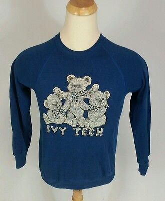 Vtg 80S Thin Distressed Ivy Tech Community College Teddy Bear Sweatshirt M