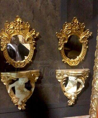 Coppia di alzatina con angelo stile barocco consolle a muro specchio mensola R76