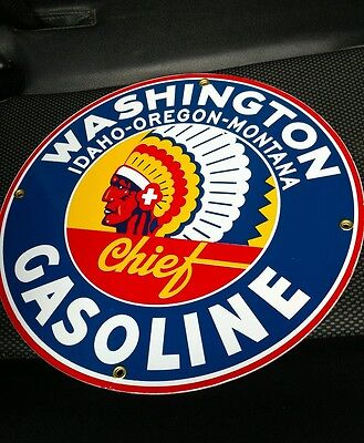 Washington Gasoline Gas Oil Gasoline Porcelain Sign     12