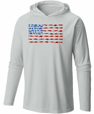 Long Sleeve Microfiber UPF Lure Flag Hooded Fishing Shirt - Gray