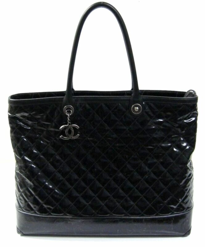 $4150 Chanel Black Striated Quilted Coated Canvas Large Rue Cambon Tote Bag