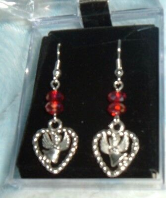 2 Red CRYSTALS w/ Silver Plated HEART w/ ANGEL CHARM Earrings FRENCH HOOK NIB