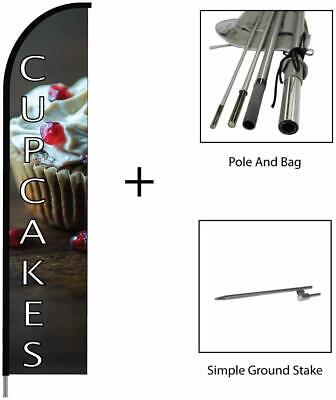 Cupcakes Banner Flag Feather Swooper Pole Kit Outdoor Business Store Sign 15ft