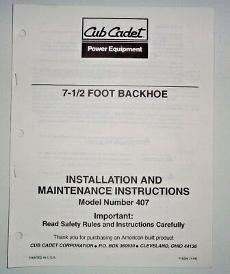 Cub Cadet 407 Backhoe Operators Maintenance Manual Fits Compact Tractors