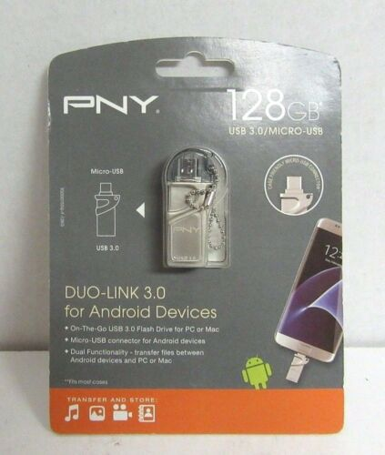 PNY Duo-Link On-the-Go 128GB USB 3.0, Micro USB Flash Drive Silver P-FDI128GOTGTO30-GE