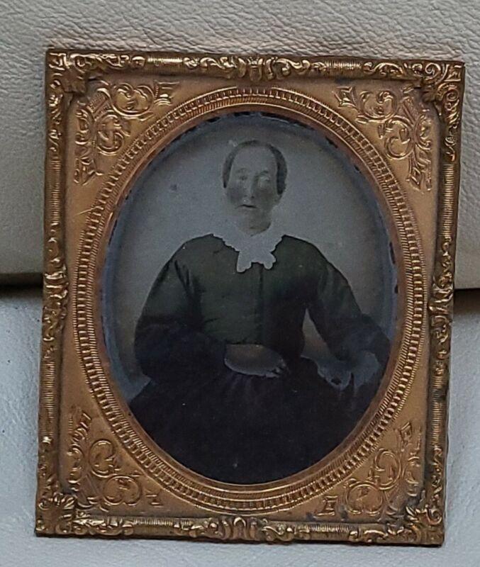 Antique Picture Frame tin type daguerreotype portrait Civil War era photo Woman