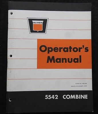 Genuine White Oliver 5542 Harvest Boss Combine Operators Manual Very Nice Shape