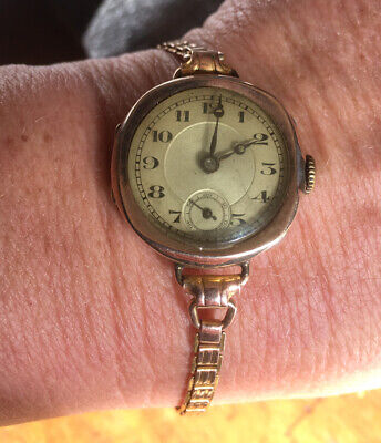 Original Solid 9ct Rose Gold Art Deco Ladies Watch With Original Solid Gold Band