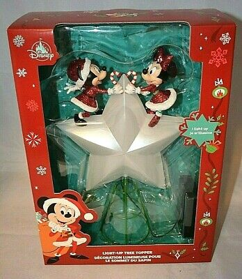 Disney Store MICKEY and MINNIE Mouse Christmas Holiday Tree Topper Light Up Star