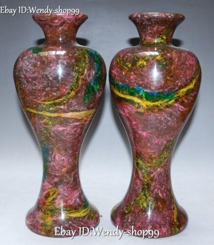 "12"" Top Rare 100% Natural Taiwan 7 Colored Jade Flower Vase Bottle Pair Statue"