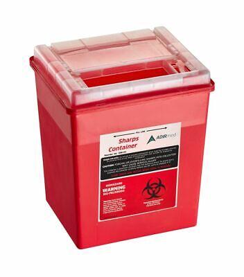 Adirmed Sharps Container Biohazard Needle Disposal Flip-open Lid 8 Qt - 2 Gallon
