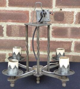 Vintage 4 Arm Rustic Metal Wrought Iron Ceiling Light Farmhouse Gothic Steampunk
