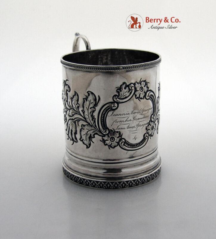 Repousse Floral Mug Isaac Baldwin New Jersey 1845 Coin Silver