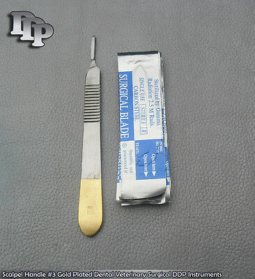 Scalpel Handle 3 Gold Plated With 10 Blade 15 Dental Surgical Instruments