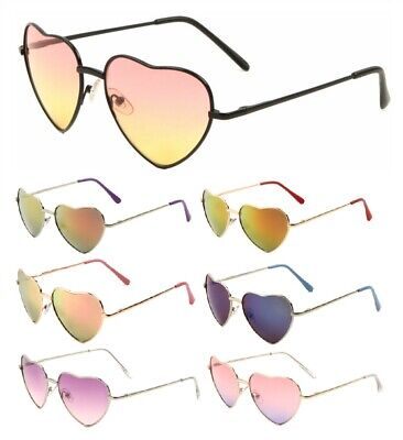 HEART SHAPED WOMENS METAL SUNGLASSES LOLITA AVIATOR RETRO HIPPIE CUTE LOVE (Love Heart Shaped Sunglasses)