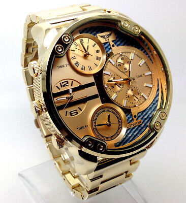 100B Men Mr Daddy Wrist Watch Gold Band Big MultiTime oversized Chronograp Dial