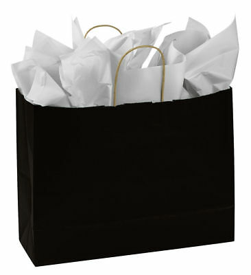 25 Paper Bags Black Kraft Retail Gift Merchandise Shopping 16 X 6 X 12 H