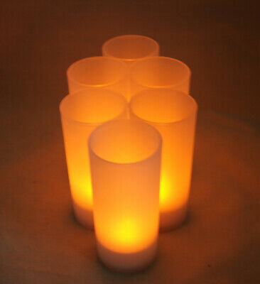 6 Rechargeable Tealight FLICKER Flameless LED Candle wedding event with CHARGER - Flameless Tealight
